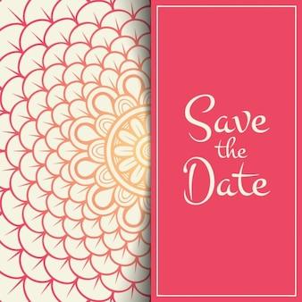 Invitación de boda roja con formas florales