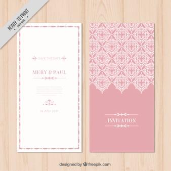 Invitación de boda rosa bonita ornamental