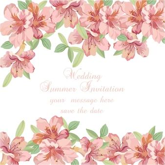 Invitación de boda veraniega con flores en acuarela rosa