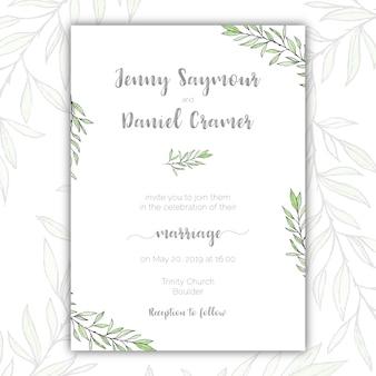 Invitación de boda verde y blanca minimalista