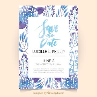 Invitación de boda vintage con bonitas flores de acuarela