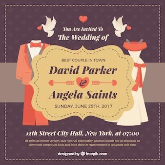 Invitación de boda vintage con detalles rojos