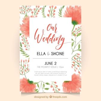Invitación de boda vintage con flores de acuarela