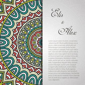 Invitación de boda vintage de mandala con espacio para texto