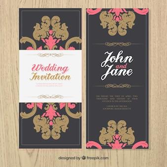 Invitación de boda vintage ornamental