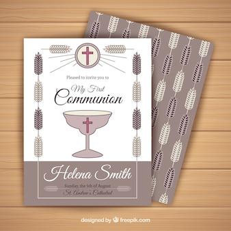 Invitación de comunión en estilo vintage