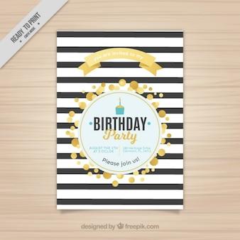 Invitación de cumpleaños a rayas con círculos dorados