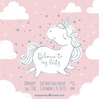 Invitación de cumpleaños con lindo boceto de unicornio