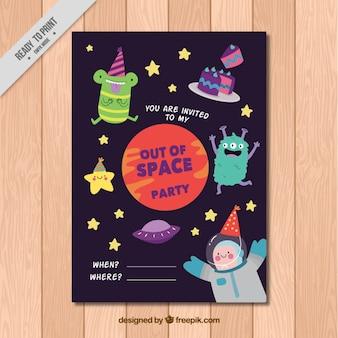 Invitación de cumpleaños con monstruos espaciales