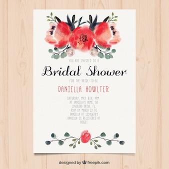 Invitación de despedida de soltera bonita con flores pintadas de acuarela