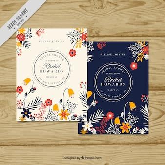 Invitación de despedida de soltera con decoración floral bonita