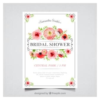 Invitación de despedida de soltera floral en estilo de acuarela