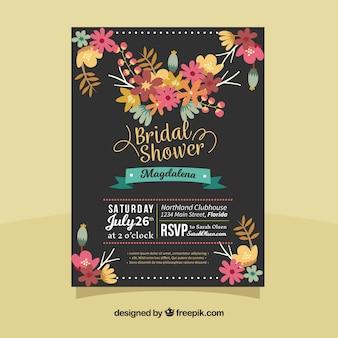 Invitación de despedida de soltera oscura con flores de colores