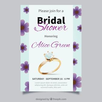 Invitación de despedida de soltera realista con anillo y flores