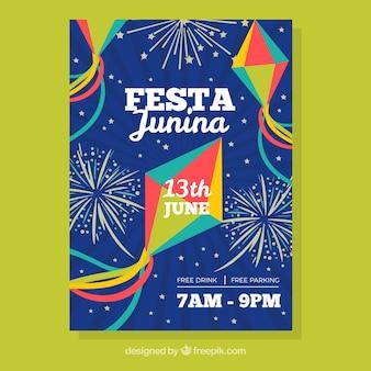 Invitación de festa junina con cometas y fuegos artificiales