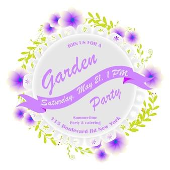 Invitación de fiesta con flores moradas