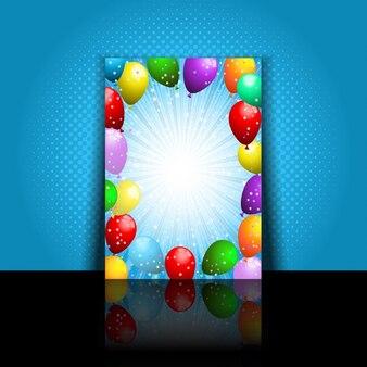 Invitación de fiesta de cumpleaños con globos de colores