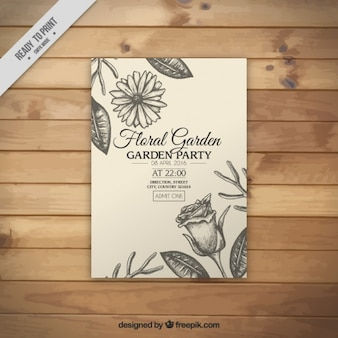 Invitación de fiesta de jardín floral dibujada a mano
