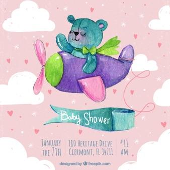 Invitación de fiesta del bebé con oso de peluche y un pequeño avión