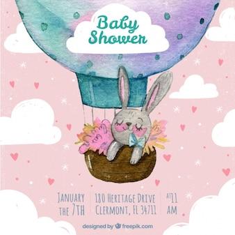 Invitación de fiesta del bebé en acuarela con un bonito conejito