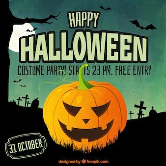Invitación de Halloween con una calabaza