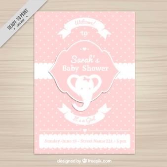 Invitación de la bienvenida del bebé con un elefante rosa