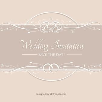 Invitación de la boda de color beige de la vendimia