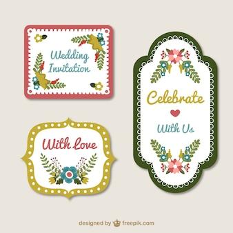 invitación de la boda de la vendimia dibujado a mano ajustado con detalles florales