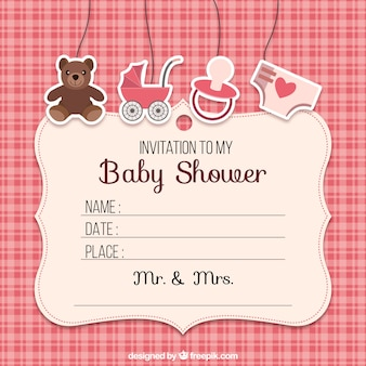 Invitación de la ducha de bebé con los elementos