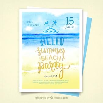 Invitación de playa de acuarela de fiesta de verano