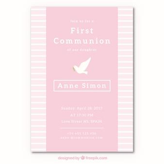 Invitación de primera comunión con paloma