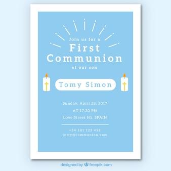 Invitación de primera comunión con velas