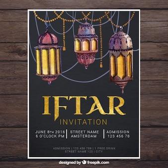 Invitación de ramadan de faroles de acuarela
