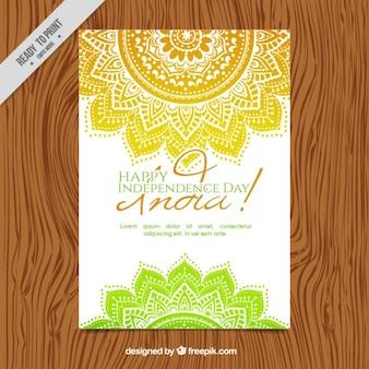 Invitación del día de independencia de india de mandalas dibujados a mano
