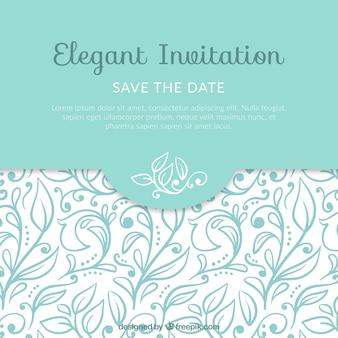 Invitación elegante con hojas decorativas