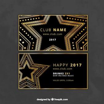 Invitación elegante de fiesta de año nuevo con estrellas doradas