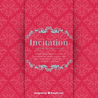 Invitación estilosa en tonos rojos