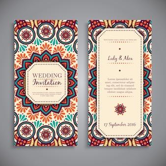 Invitación étnica de boda en estilo de mandala