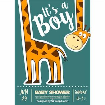 Invitación fantástica de bienvenida al bebé con una jirafa feliz