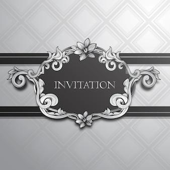Invitación floral con diseño plateado
