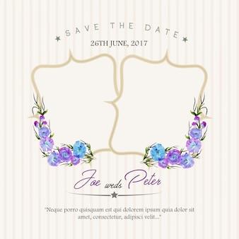 Invitación floral de boda con fondo de rayas