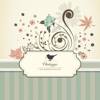 Invitación floral en estilo scrapbook