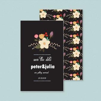 Invitación floral y oscura de boda
