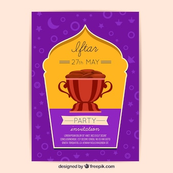 Invitación iftar con diseño de comida