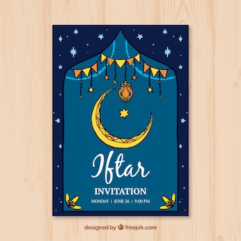 Invitación iftar con luna dibujada a mano
