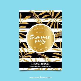 Invitación lujosa dorada de fiesta de verano