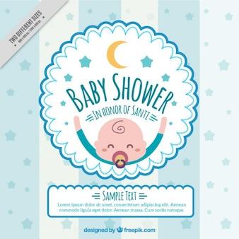 Invitación para baby shower con bebé feliz