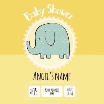 Invitación para baby shower con dibujo de elefante
