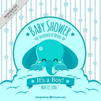 Invitación para baby shower con un elefante