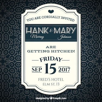 Invitación retra de la boda